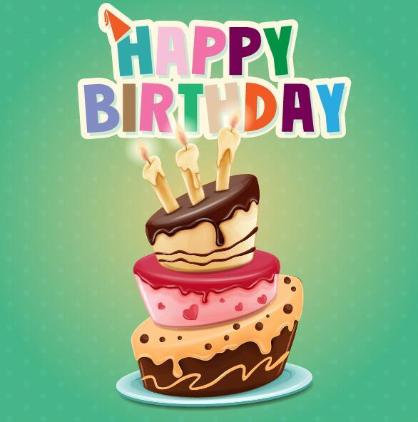 Retro birthday card with cartoon cake vector 02
