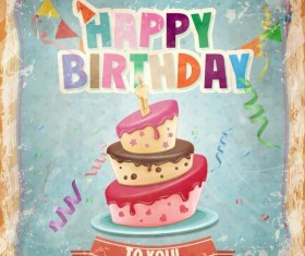 Retro birthday card with cartoon cake vector 03