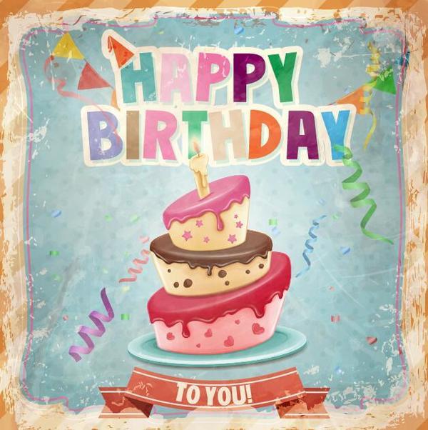 Retro birthday card with cartoon cake vector 03