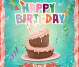 Retro birthday card with cartoon cake vector 04