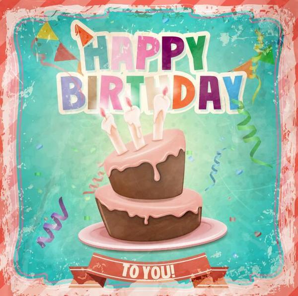 Retro birthday card with cartoon cake vector 04