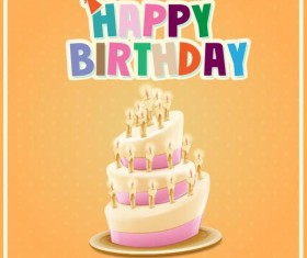 Retro birthday card with cartoon cake vector 05