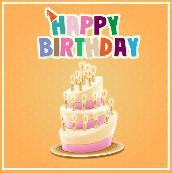 Retro birthday card with cartoon cake vector 05