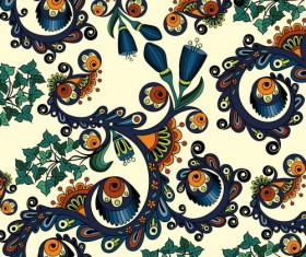 Retro floral decorative pattern seamless vector 01
