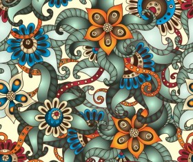 Retro floral decorative pattern seamless vector 04