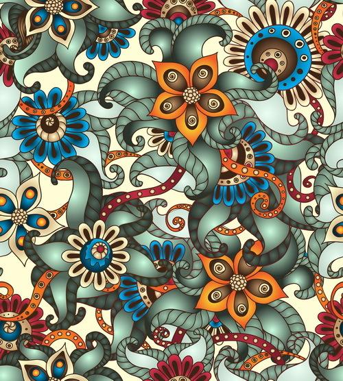 Retro floral decorative pattern seamless vector 04