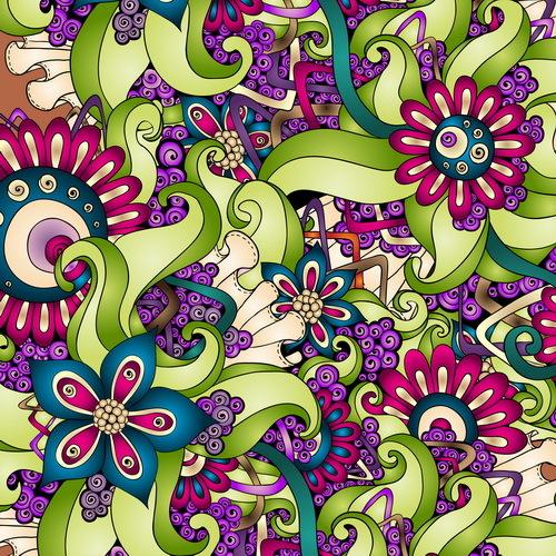 Retro floral decorative pattern seamless vector 06