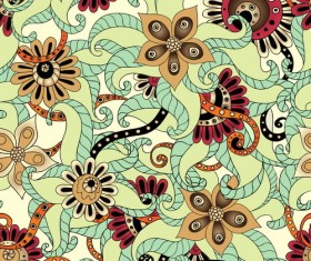 Retro floral decorative pattern seamless vector 07