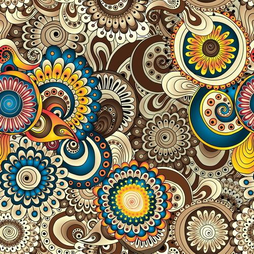 Retro floral decorative pattern seamless vector 09