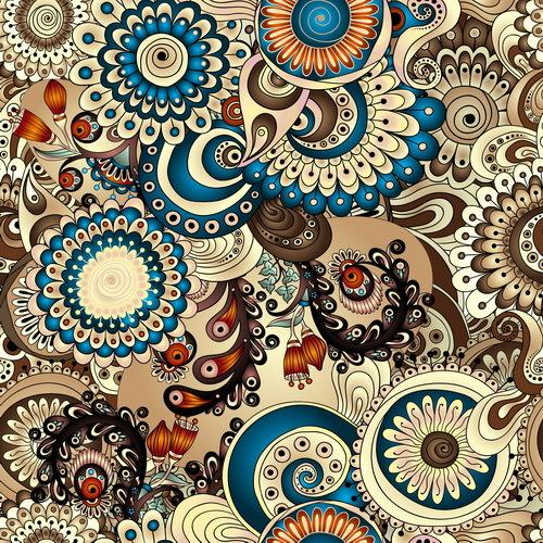 Retro floral decorative pattern seamless vector 10