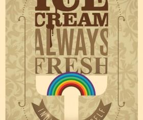 Retro ice cream poster template vector 03