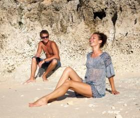 Romantic Lovers walking on the beach Stock Photo 04