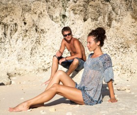 Romantic Lovers walking on the beach Stock Photo 05