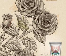 Rose hand cream retro poster template vector 02
