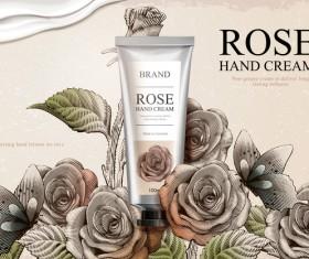 Rose hand cream retro poster template vector 03