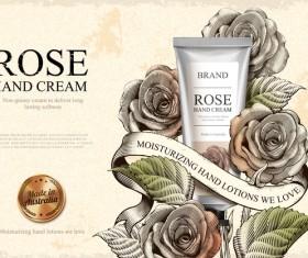 Rose hand cream retro poster template vector 04