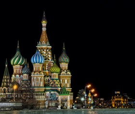 Russia St. Vasily Cathedral at night Stock Photo