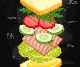 Sandwich ingredients infographic vector 02