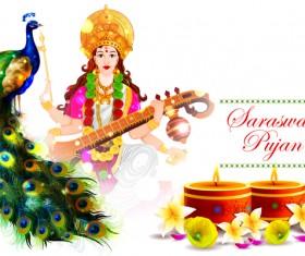 Saraswati pujan festival ethnic style vector material 01