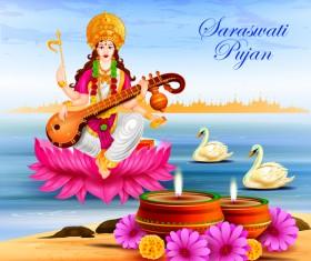 Saraswati pujan festival ethnic style vector material 03