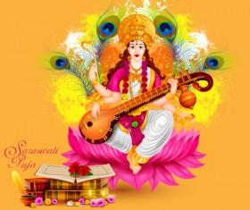 Saraswati pujan festival ethnic style vector material 04