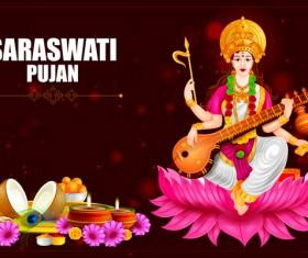 Saraswati pujan festival ethnic style vector material 05