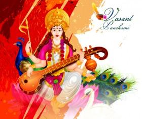 Saraswati pujan festival ethnic style vector material 06