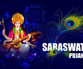 Saraswati pujan festival ethnic style vector material 07