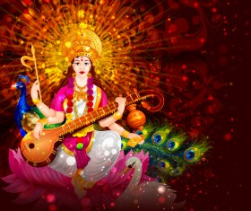 Saraswati pujan festival ethnic style vector material 08