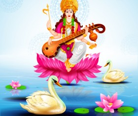 Saraswati pujan festival ethnic style vector material 09