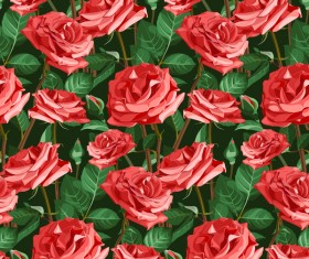 Seamless rose pattern vector material 01