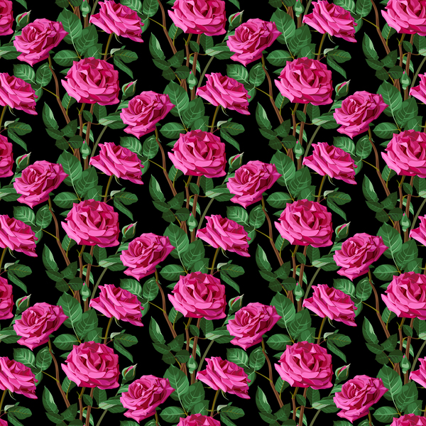 Seamless rose pattern vector material 02