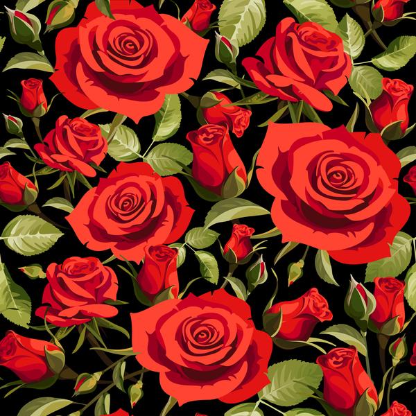 Seamless rose pattern vector material 03