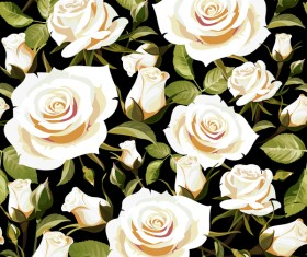 Seamless rose pattern vector material 05