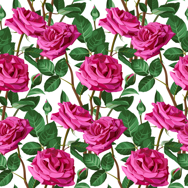 Seamless rose pattern vector material 07