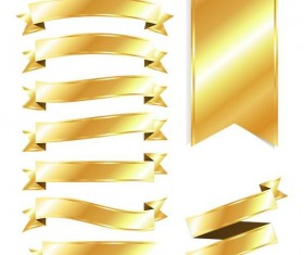 Shining golden ribbon vector set 01