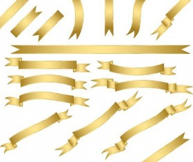 Shining golden ribbon vector set 03