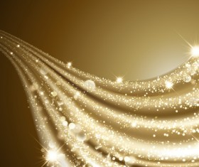 Shiny golden light wave background vector