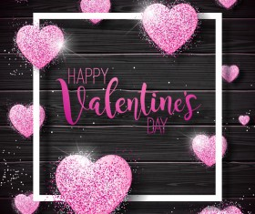 Shiny heart shape with valentine wooden background vector