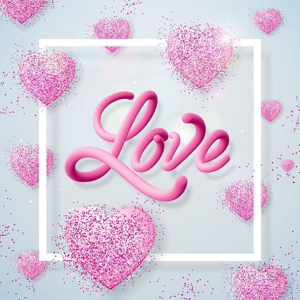 Shiny heart with white valentine background vector