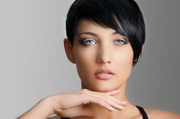Short black hair Healthy girl Stock Photo