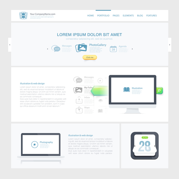 Simple white website template vector material