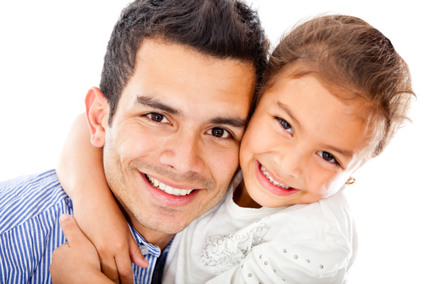 Smiling father and daughter Stock Photo 01