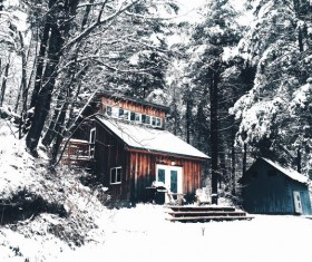 Snow-covered cottage Stock Photo