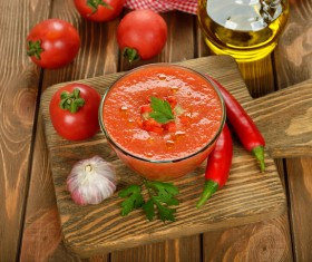 Spanish tomato cold soup Stock Photo 02
