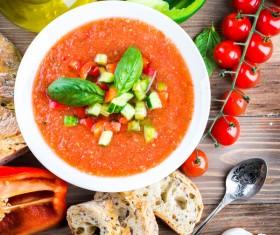 Spanish tomato cold soup Stock Photo 03