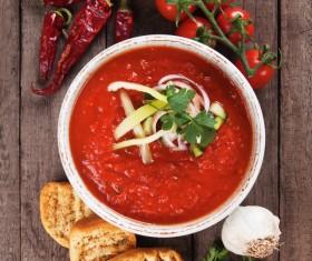 Spanish tomato cold soup Stock Photo 05