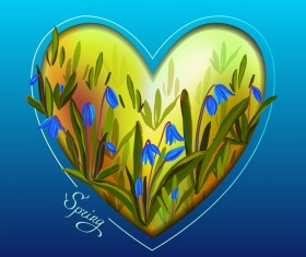 Spring blue background with heart shape vector