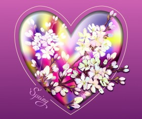 Spring flower background wiht heart shape vector