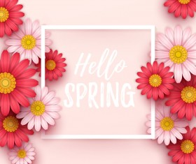Spring frame with color flower vector 02